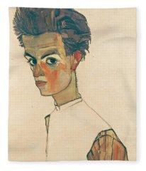 Self-portrait With Striped Shirt Fleece Blanket