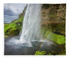 Seljalandsfoss With Rainbow, Iceland Fleece Blanket