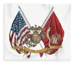 Semper Fidelis Crossed Flags Fleece Blanket
