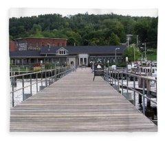 Seneca Lake Pier Watkins Glen New York Fleece Blanket