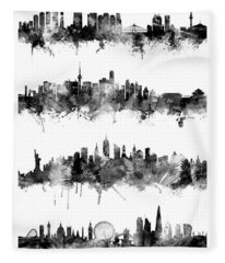 Seoul, Beijing, New York And London Custom Skyline Collection Fleece Blanket