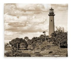 Sepia Lighthouse Fleece Blanket