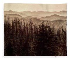 Sepia Morning From Clingmans Dome Fleece Blanket