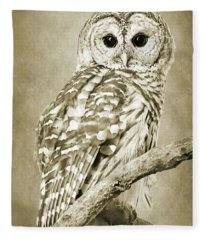 Sepia Owl Fleece Blanket