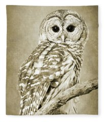Sepia Owl Fleece Blanket