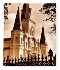 Sepia St. Louis Cathedral Fleece Blanket