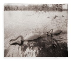 Sepia Swans Fleece Blanket