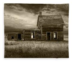 Sepia Tone Of Abandoned Prairie Farm House Fleece Blanket