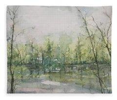 Septembers Morning On The River Fleece Blanket