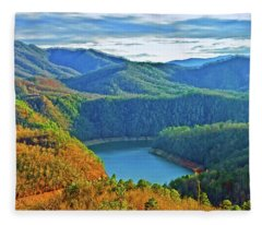 Serene Mountains And Lake Fleece Blanket
