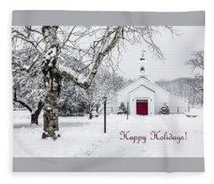 Serene Snowy Chapel - Happy Holidays Fleece Blanket