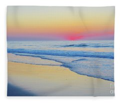 Serenity Beach Sunrise Fleece Blanket
