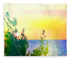 Pastel Colors On The Atlantic Ocean In Cancun Fleece Blanket