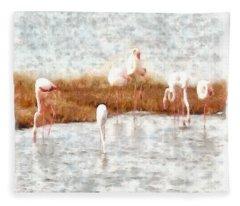 Seven Flamingos A Feeding Watercolor Fleece Blanket