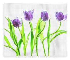 Seven Purple Tulips Fleece Blanket