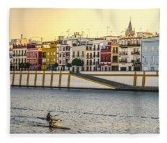 Seville - Sunset In Calle Betis Fleece Blanket
