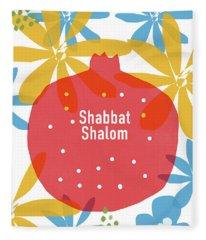 Shabbat Shalom Pomegranate- Art By Linda Woods Fleece Blanket