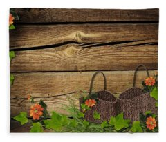 Shabby Chic Flowers In Rustic Basket Fleece Blanket
