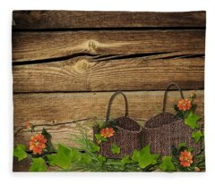Shabby Chic Flowers In Rustic Basket Fleece Blanket