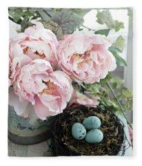 Shabby Chic Peonies With Bird Nest Robins Eggs - Summer Garden Peonies Fleece Blanket