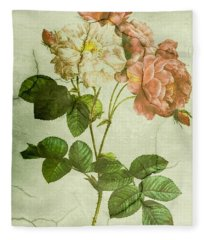 Shabby Chic Pink And White Peonies Fleece Blanket
