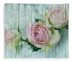 Shabby Chic Pink Roses On Blue Wood Fleece Blanket