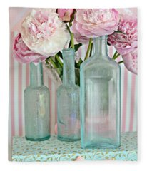 Shabby Chic Pink White Aqua Peonies With Vintage Aqua Bottles - Romantic Shabby Chic Peonies Fleece Blanket