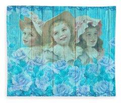 Shabby Chic Vintage Little Girls And Roses On Wood Fleece Blanket