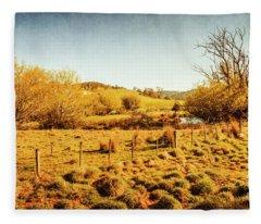 Shabby Country Farmland Fleece Blanket