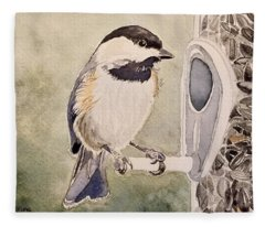 Shades Of Black Capped Chickadee Fleece Blanket