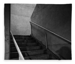 Shadow On The Stairs Bw Parking Structure Fleece Blanket