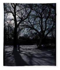 Shadows In January Snow Fleece Blanket