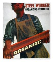 Shahn: Steel Union Poster Fleece Blanket