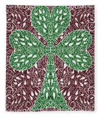 Shamrock With Leaves Fleece Blanket