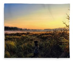 Sharing A September Sunrise With A Retriever Fleece Blanket