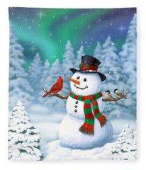 Sharing The Wonder - Christmas Snowman And Birds Fleece Blanket