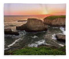 Shark Fin Cove Sunset Fleece Blanket