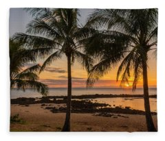 Sharks Cove Sunset 4 - Oahu Hawaii Fleece Blanket