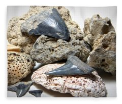 Sharks Teeth And Coral Fleece Blanket