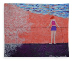 The Beach At Sunset Fleece Blanket