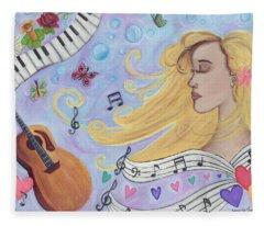 She Dreams In Music Fleece Blanket