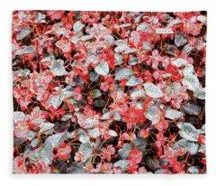 She Wore Red Flowers Fleece Blanket