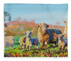 Sheep And Lambs In Devon Landscape Bright Colors Fleece Blanket
