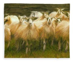 Sheep At Hadrian's Wall Fleece Blanket