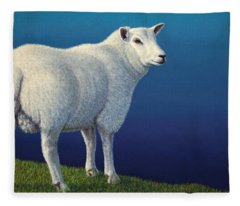 Sheep At The Edge Fleece Blanket