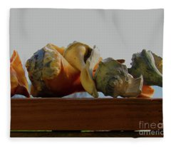 Shells Of The Sea In Orange And Gray Fleece Blanket