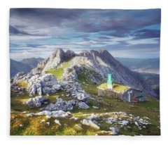 Shelter In The Top Of Urkiola Mountains Fleece Blanket