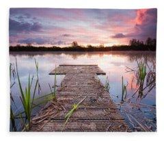 Shinewater Lake Sunrise Fleece Blanket