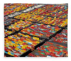 Shipping Container Yard Fleece Blanket