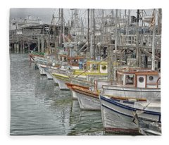 Ships In The Harbor Fleece Blanket